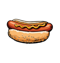 sketch sausage hot dog with sauce isolated vector image