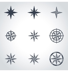 black wind rose icon set vector image