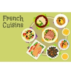 French cuisine snacks and salads icon design vector