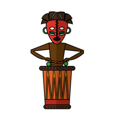 native african playing the drum vector image vector image