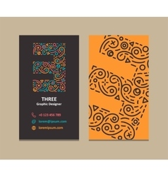 Number 3 Logo Business card vector image vector image