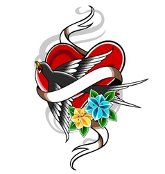 bird and heart tattoo vector image