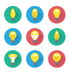 Colorful light bulbs flat icons set vector