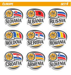Flags of european national basketball teams vector