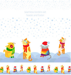 Holiday seamless borders set with christmas cats vector