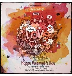 love doodles watercolor poster design vector image
