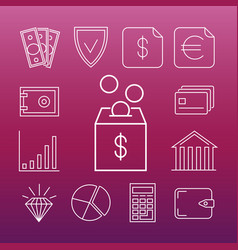 safe money line art icons vector image vector image