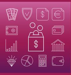 safe money line art icons vector image