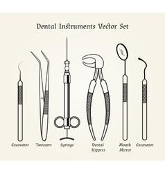 Vintage dentist tools Medical equipment in retro vector image