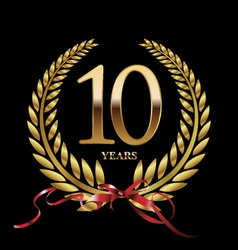 10 years anniversary laurel wreath vector image