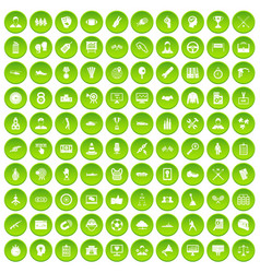 100 veterinary icons set green circle vector