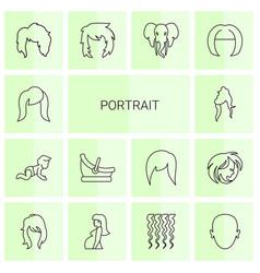 14 portrait icons vector