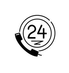24 hour client support black icon sign on vector image