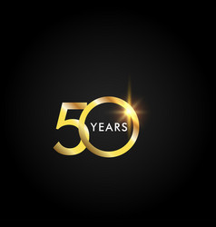 50 years anniversary celebration gold template vector