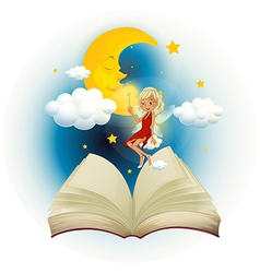 A storybook with a fairy and a sleeping moon vector image
