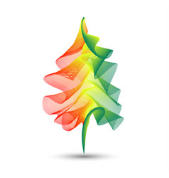 abstract creative wave line with christmas tree vector image
