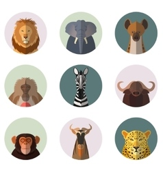african animal round flat icons vector image