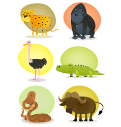 African wild animals set vector