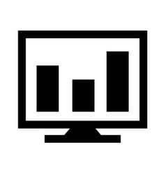 analytics on screen glyph black icon vector image