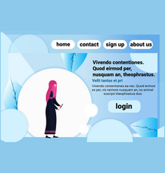 arab woman chat bubble profile using smartphone vector image