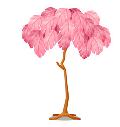 artificial tree with pink leaves isolated on white vector image