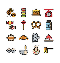 Bakery icon set filloutline icon collection vector