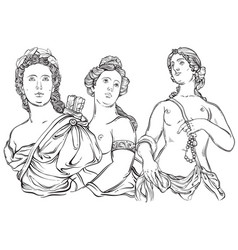 Beautiful greek gods the mythological characters vector