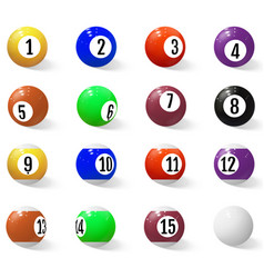 billiard pool or snooker balls with numbers vector image