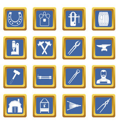 blacksmith icons set blue vector image