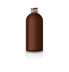 blank brown cosmetic round bottle with copper lid vector image