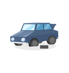 blue car with punctured tire colorful flat vector image