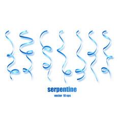 blue curly ribbon serpentine confetti blue vector image
