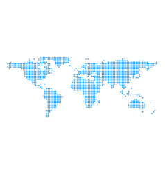 blue earth dot map on white isolated background vector image