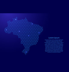 brazil map abstract schematic from blue lines vector image