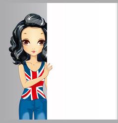 Brunette Girl Hold Banner vector