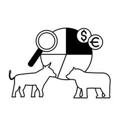 bull bear stock market chart money vector image