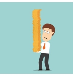 Businessman carefully carrying pile of coins vector