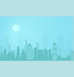 city street landscape at night modern city vector image