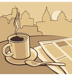 Coffee cup and news paper on table vintage vector image