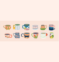 collection different modern cups decorated vector image