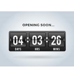 Countdown clock digits board panels timer vector image