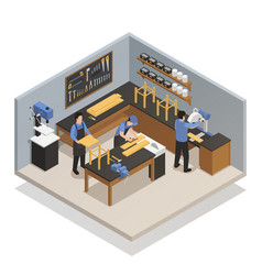 craftsman people isometric composition vector image