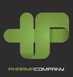 cross letter p logo vector image