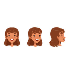 cute cheerful brown haired girl set different vector image