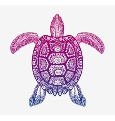 Decorative ethnic turtle with ornamental pattern vector