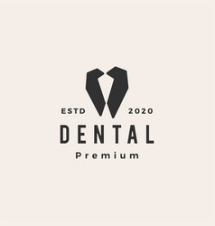 dental hipster vintage logo icon vector image