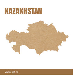 Detailed map of kazakhstan cut out of craft paper vector