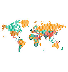 Dotted world map with countries borders vector