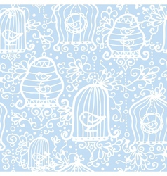 drawing birds in cages seamless pattern vector image