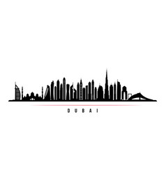 dubai city skyline horizontal banner vector image